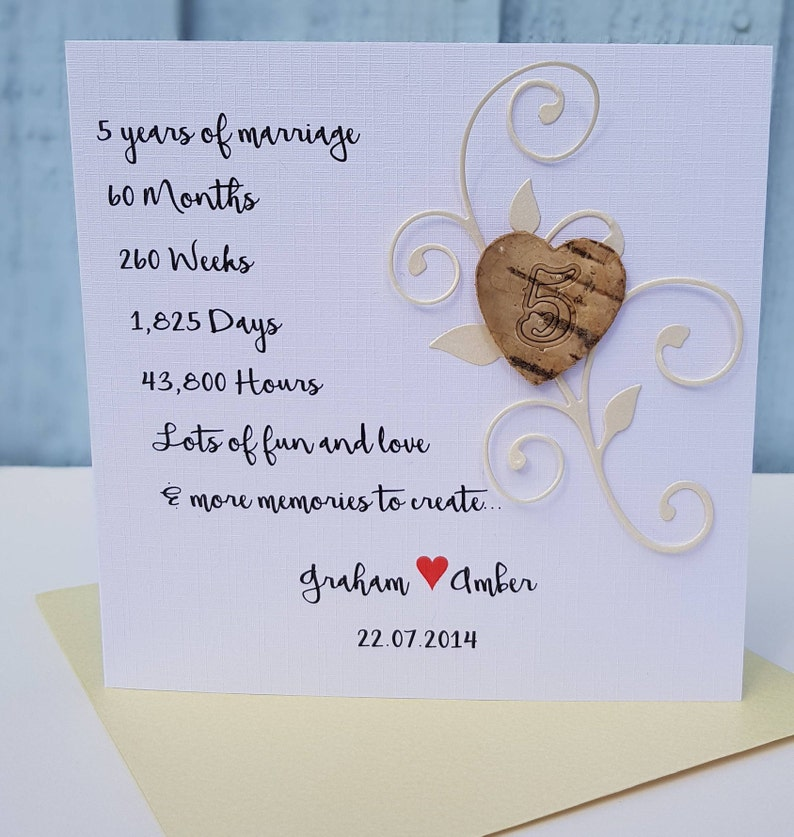 5th wood anniversary card, 5th wedding anniversary card,personalised card  for husband, wife, couple,handmade gift, 5th anniversary card