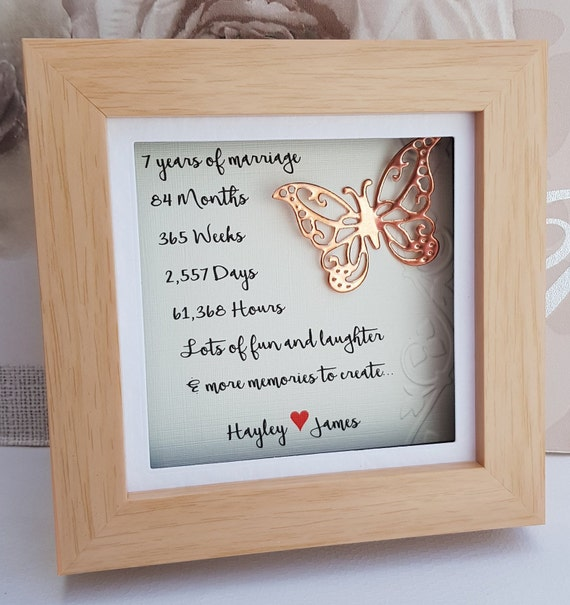 7th Wedding Anniversary.7th Wedding Anniversary Gift Copper Anniversary Gift 7th Copper Anniversary 7 Year Anniversary Present 7th Anniversary Personalised Frame