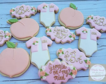 Sweet As A Peach Baby Shower Cookies