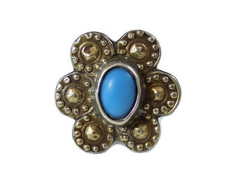 Large Vintage Silver Turquoise flower ring size R UK 9 US, Fine jewellery