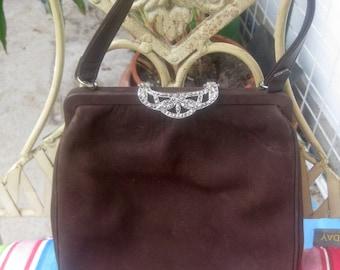 old, brown suede handbag m.Markasitengriff