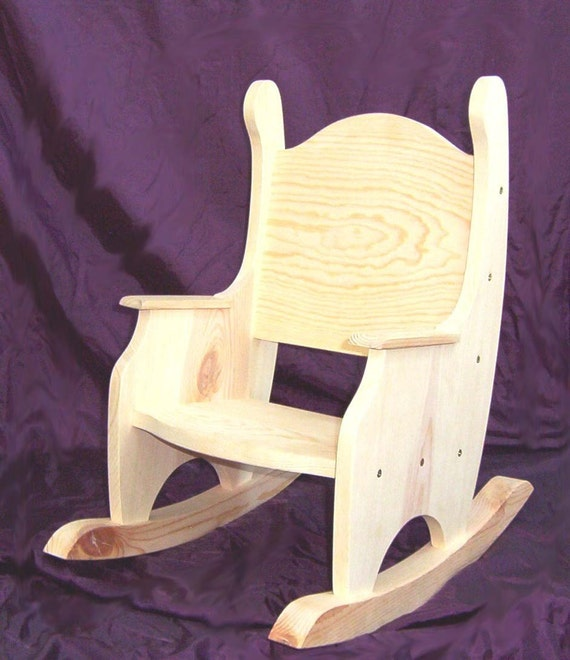 Childu0027s Rocking Chair Unfinished Pine W/o Hearts | Etsy