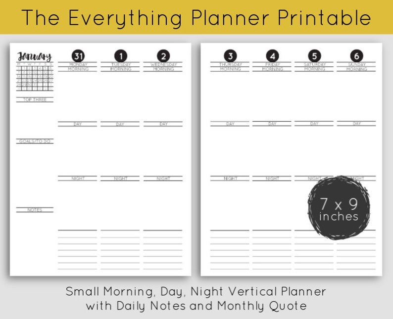 Printable  Small Morning Day Night Vertical Planner with image 0