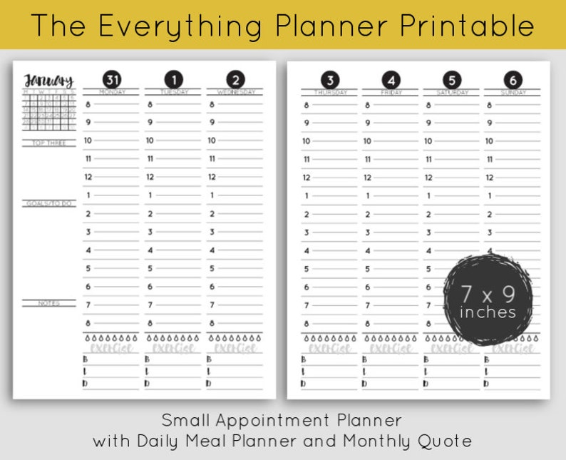 Printable  Small Appointment Planner with Daily Meal Planner image 0