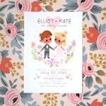 Personalized, Printable Save the Date or Wedding Invitation | Cute, Cartoon Couple's Portrait | Wildflower, Storybook Illustration