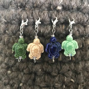 Seahorse Turtle Progress Keepers for Crochet Octopus; Zipper Pull