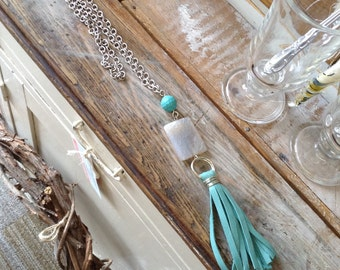 Turquoise Leather Tassel Lariat