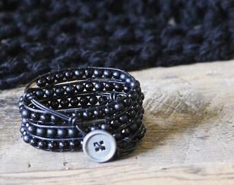 Black Leather Beaded Wrap Bracelet