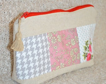 Linen and cotton red fe patchwork Kit