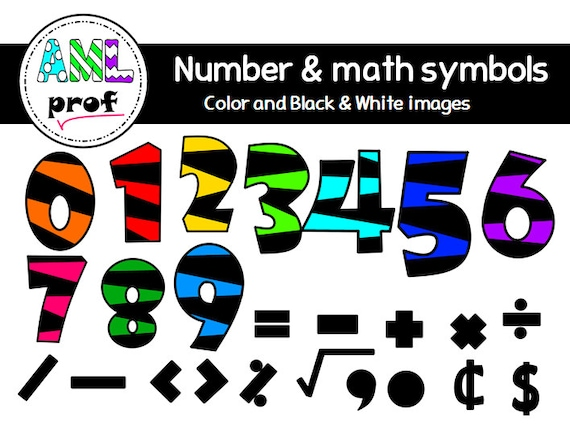 Striped Numbers Ans Math Symbols Clipart 2 Etsy