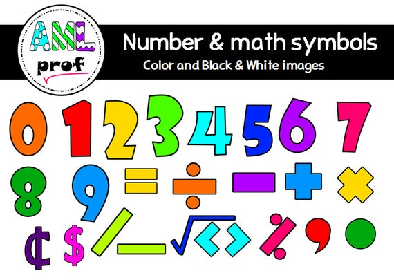 Numbers Math Symbols Clipart Etsy