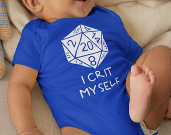 """Dnd Shirt- """"I Crit Myself"""". Dnd Baby, DnD Gifts, Anime Baby, Nerdy Baby, Tabletop Gaming, Dnd Shirt."""