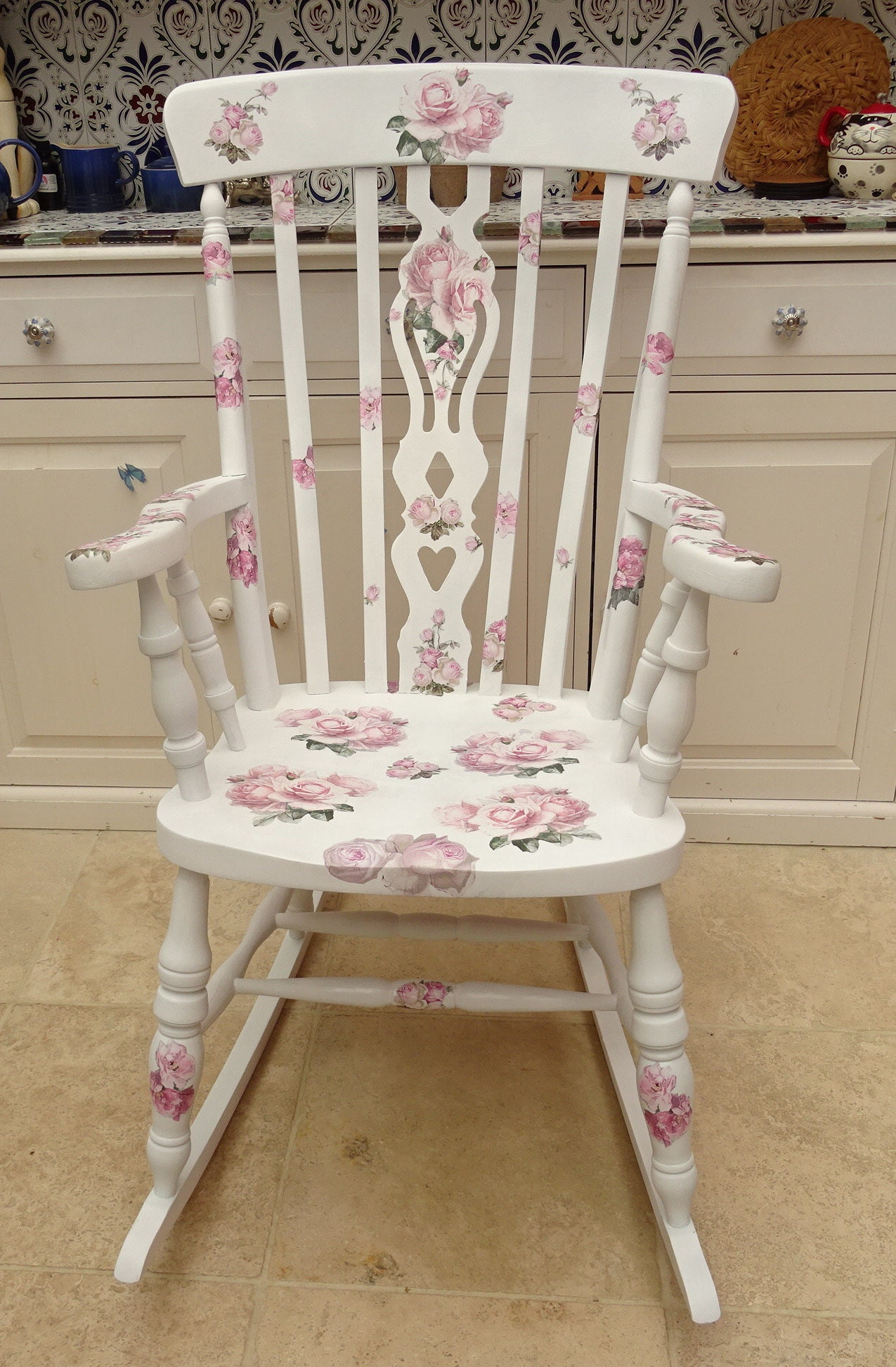 Awesome Rocking Chair Rose Design Decopatch Decoupage With Gmtry Best Dining Table And Chair Ideas Images Gmtryco