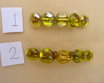 Yellow Glass Pebble Barrette  4in / 3 inches