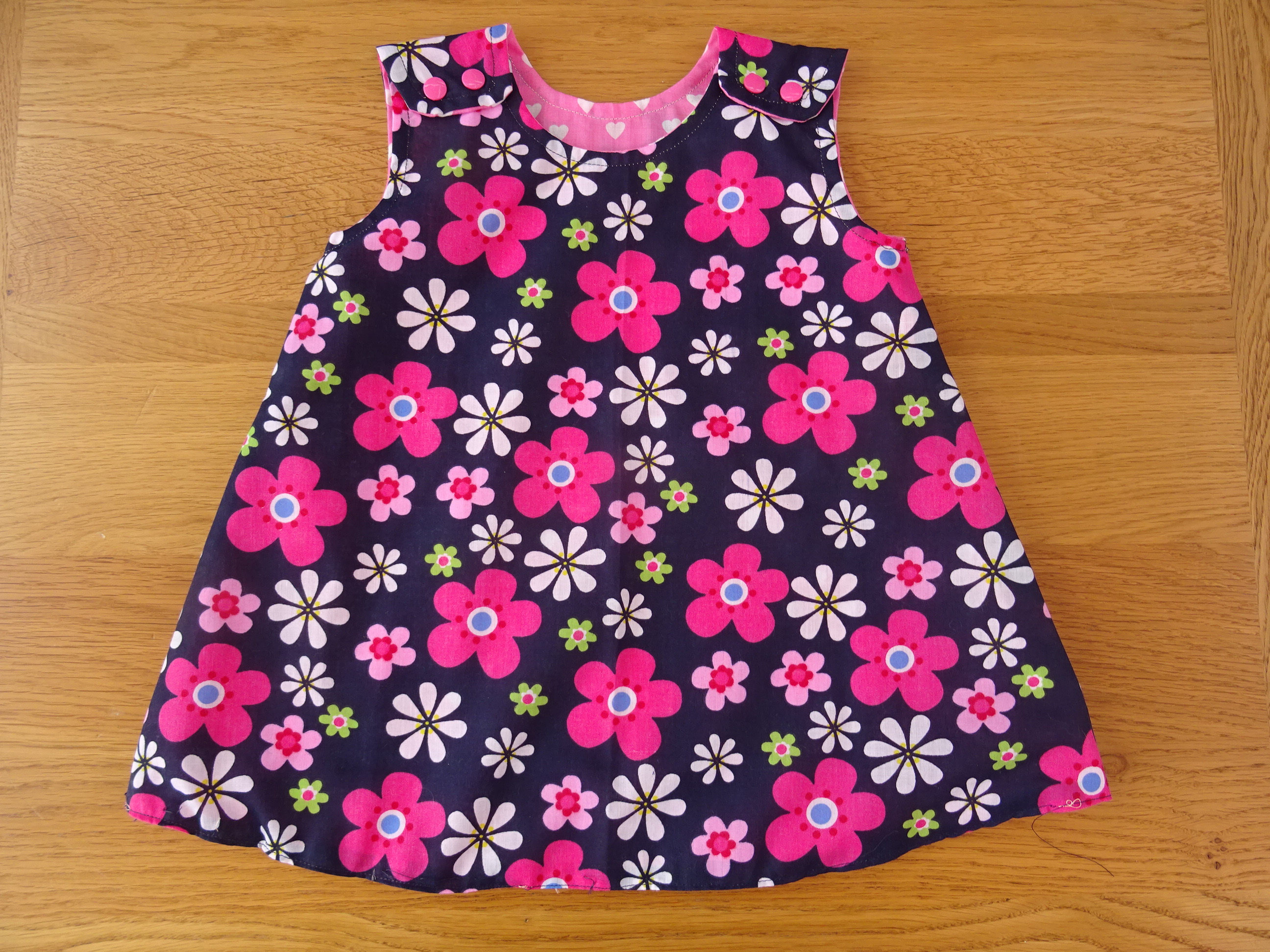 Blue And Pink Flower Reversible Girls Dress 1 To 2 Yrs
