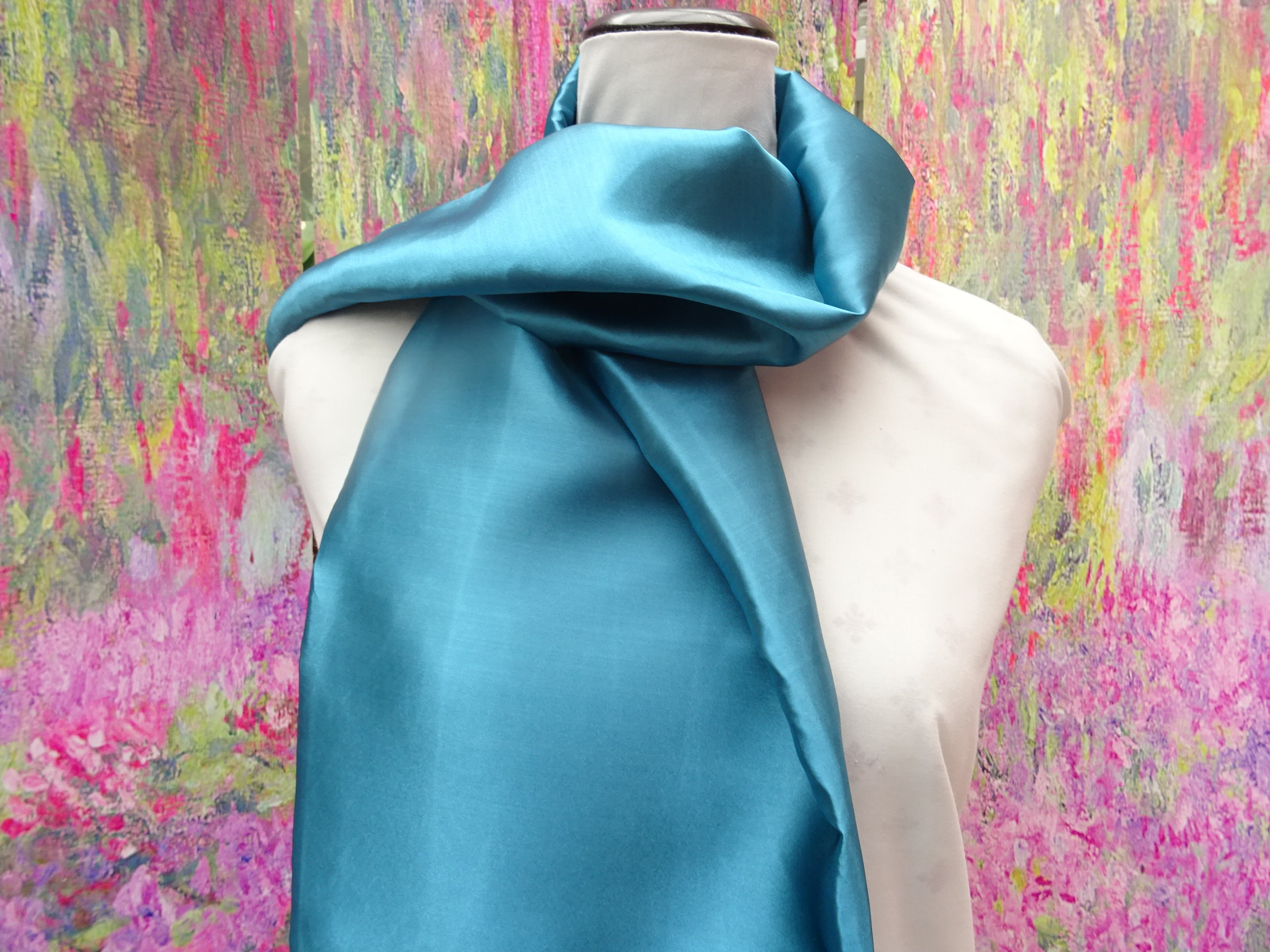 Infinity Or Long Satin Scarf Teal Green ScarfTeal 55 Inches