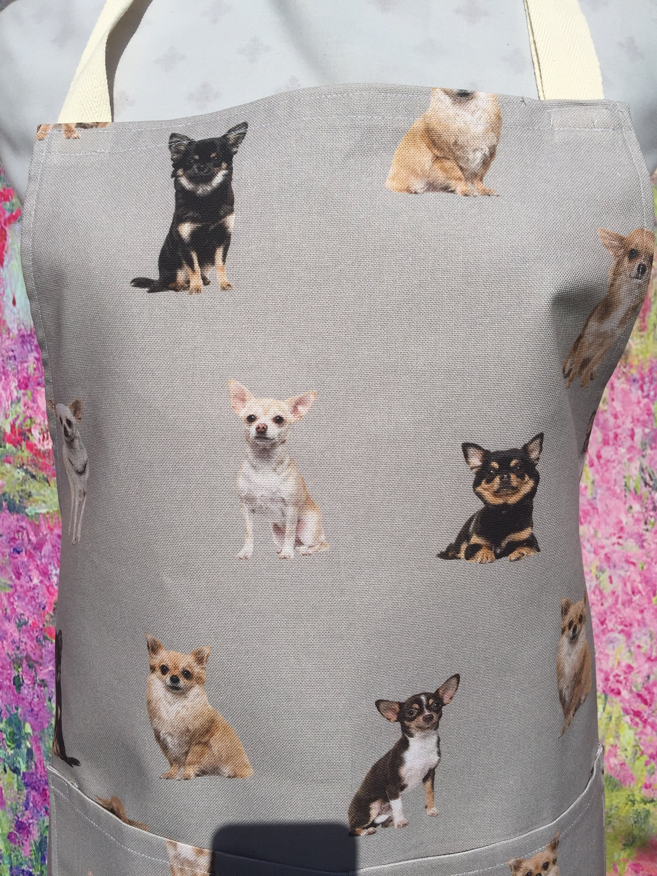 Chihuahua Apron with pocket , Adjustable Neck Strap  With or