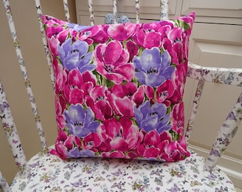 Pink and Purple Flower Cushion Cover 18 inch  46 cm