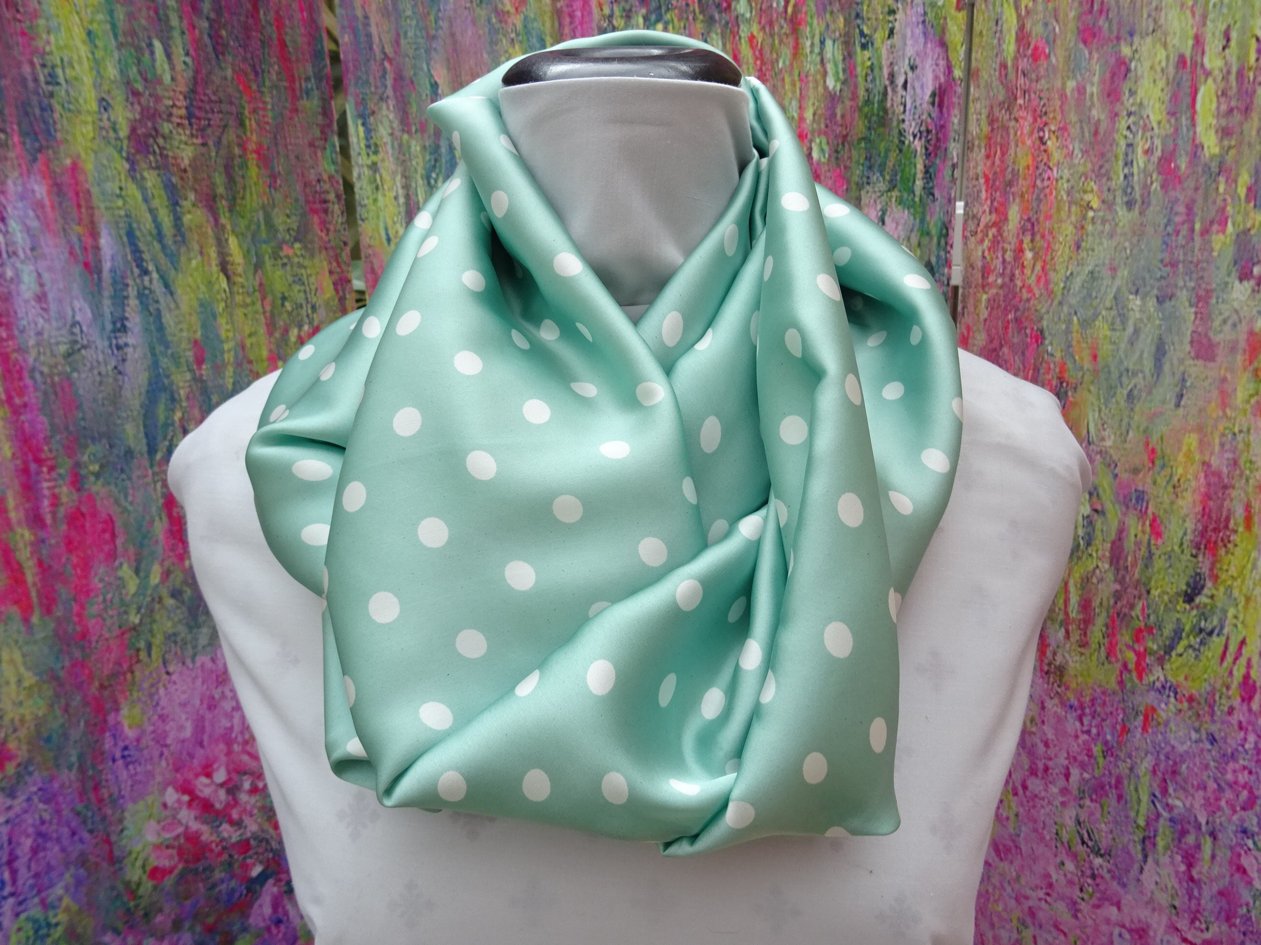 Infinity or long Satin Pale Lilac Polka Dot Scarf 51 inches