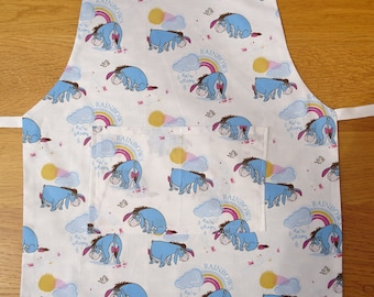 Eeyore Child's Reversible Apron with pocket and adjustable neck strap Hand Embroidered Name. Winnie the Pooh aprons