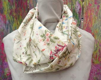 Wild Flower Infinity or Long  Scarf  .  Soft Cotton .57 inches  ( 144 cm) by 9 inches ( 23 cm )  ( John Lewis Fabric )