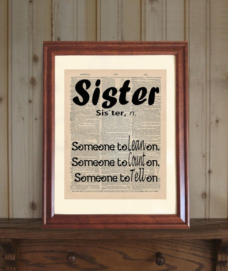 Sister Dictionary Print Birthday Gift Funny