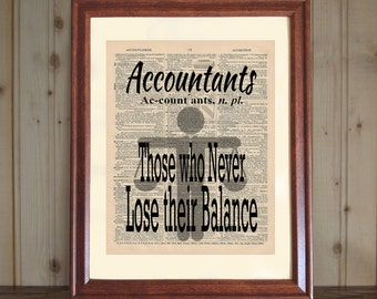Accountant Dictionary Print, Accountant Quote, CPA Office Decor, Accountant Gift, CPA Grad Gift, Accountant Print on 5x7 / 8x10 canvas panel