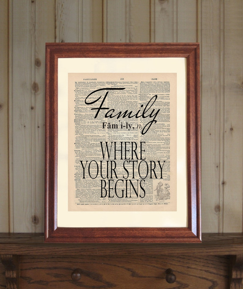 Family Dictionary Print, Family Quote, Inspirational Family Print, Family  Saying, Where Your Story Begins Print on 5x7 or 8x10 Canvas Panel