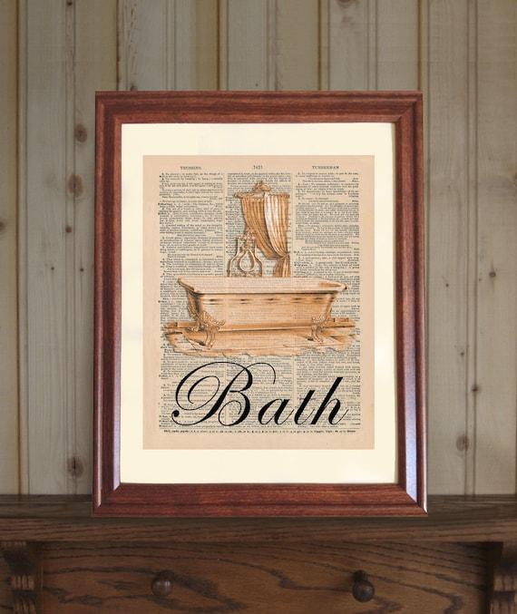 Bath Dictionary Print Bathroom Wall Art Bathroom Decor Etsy