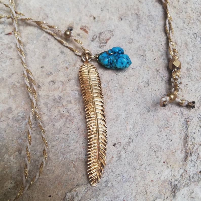 Turquoise necklace unisex jewelry leaf necklace choker necklace gold brass feather necklace long necklace yoga necklace boho necklace