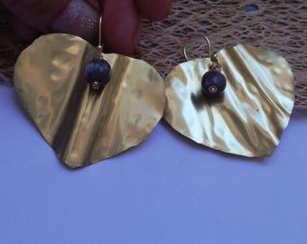Brass heart earring, handmade earrings, organic cactus seeds