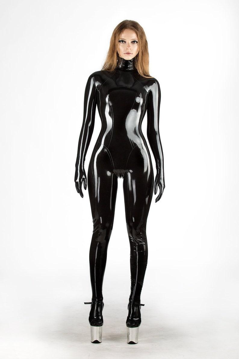 LATEX VIP CATSUIT 100% natural black rubber full gloves | Etsy
