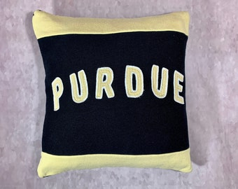Purdue University Recycled Sweatshirt Pillow, College Decision Gift, Dorm Pillow, Graduation Gift, College Bound