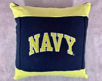 Navy Recycled Sweatshirt Pillow, Enlistment Gift, Midshipmen Gift, Navy Mom Gift, Navy Girlfriend Gift, Man Cave Pillow