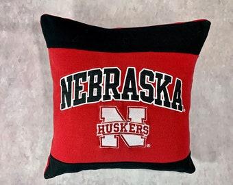 University in Nebraska Recycled Sweatshirt Pillow, Nebraska College Acceptance Gift, Graduation Gift, College Bound Gift, Man Cave Pillow