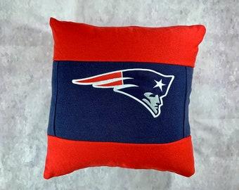 New England Football Recycled Sweatshirt Pillow, Football Fan Gift, Football Bedroom Decor, Man Cave Pillow, Football Pillow