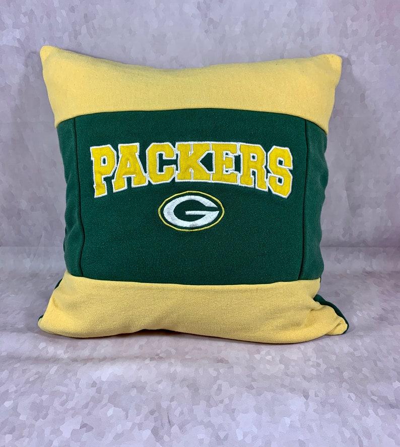 Football Pillow Green Bay Football Recycled Sweatshirt Pillow Green Bay Home Decor Man Cave Pillow Football Fan Gift