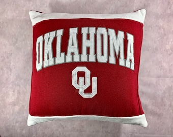 University in Oklahoma Recycled Sweatshirt Pillow, Oklahoma College Student Gift, Graduation Gift, College Dorm Pillow