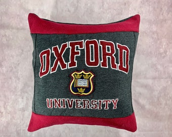 University in Oxford Recycled Sweatshirt Pillow, University Student Gift, Graduation Present, College Acceptance Gift