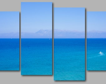 4a86f6522ed Deep Blue Mediterranean Sea off the Corfu Coast 4 Panel Canvas Picture Wall  Art Picture