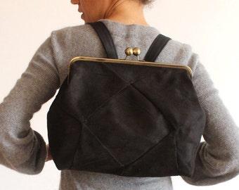 BERLIN Black backpack - Vegan leather backpack / Faux leather bag - Women backpack / vegan bag - vegan Rucksack
