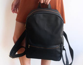 e62fe651c3cf MILAN BACKPACK - Black vegan leather backpack   Women s backpack - vegan  backpack  School backpack - faux leather backpack   Black backpack