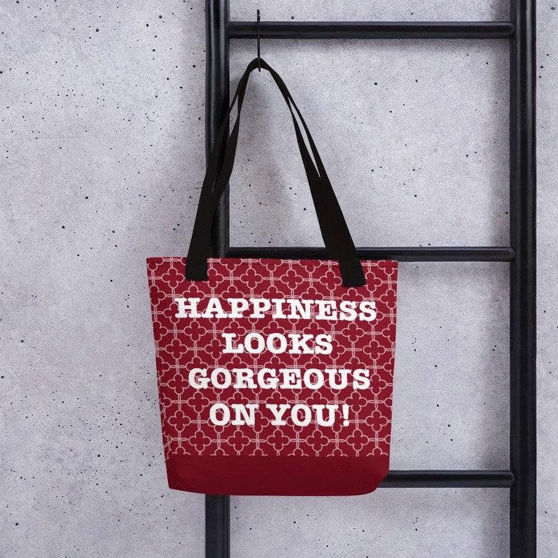 vegan tote vegan bag Happiness looks gorgeous on you Tote bag Red tote bag