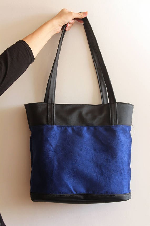 Blue Tote Bag Women Tote   Blue Tote Bag With Zipper   Etsy a8b9b2065f