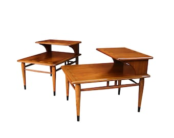 Delicieux Mid Century Lane Acclaim Dovetail Two Tier End Tables Pair