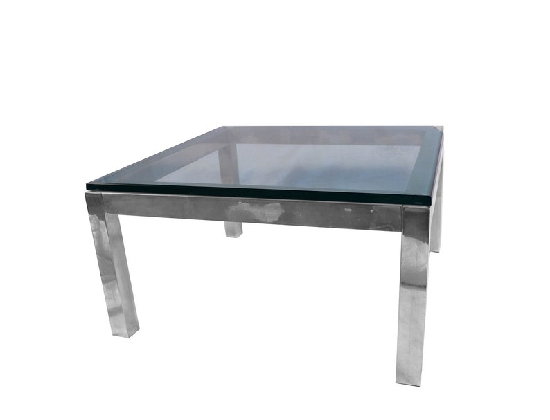 7c0e3d86c1fed Mid Century Modern Chrome   Glass Coffee Table Milo Baughman