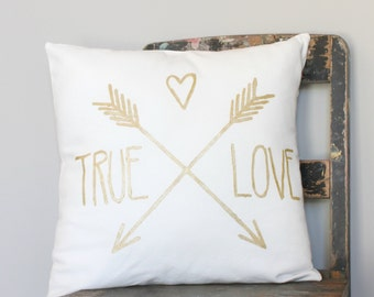 True Love Gold on White Throw Pillow Cover, love cushion cover, wedding gift, gold pillow cover, gold arrow cushion cover