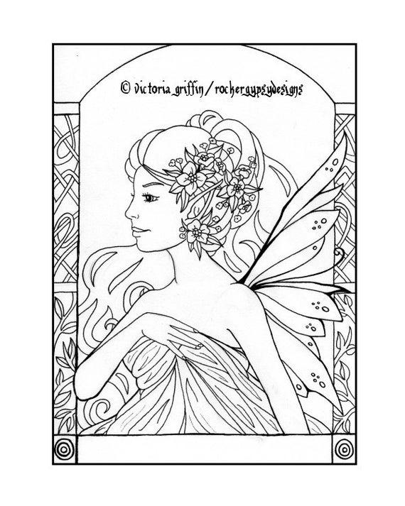 Página para colorear de Art Nouveau página para colorear de | Etsy