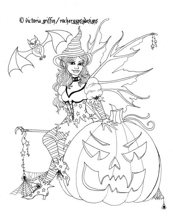 Halloween Coloring Page Fairy Coloring Page Printable | Etsy