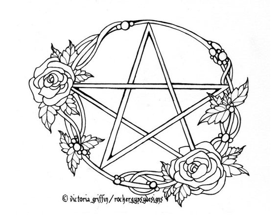 Wicca Coloring Page Wiccan Coloring Page Printable Adult   Etsy